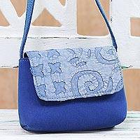 Leather accent cotton sling, 'Adorable Blue' - Leather Accent Cotton Applique Sling in Blue from India