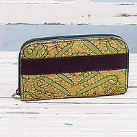 Leather accent cotton wallet, 'Avocado Road' - Leather Accent Cotton Appliqué Wallet from India