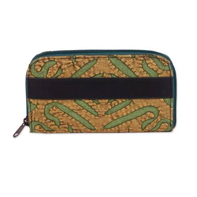 Leather Accent Cotton Appliqu?�?� Wallet from India