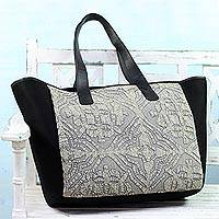 Leather accent cotton tote bag, 'Traditional Flair' - Leather Accent Cotton Appliqu� Tote in Grey from India