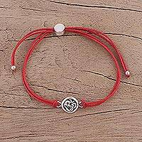 Sterling silver pendant bracelet, 'Om Saga in Red' - Indian Sterling Silver and Cotton Cord Om Pendant Bracelet