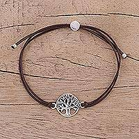 Sterling silver pendant bracelet, 'Divine Tree in Brown' - Sterling Silver Tree of Life Cotton Cord Bracelet from India