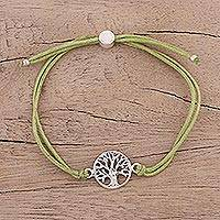 Sterling silver pendant bracelet, 'Divine Tree in Olive' - Sterling Silver Tree Pendant Bracelet in Olive from India
