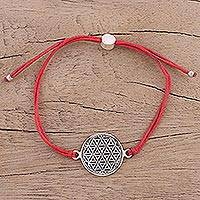 Sterling silver pendant bracelet, 'Starry Seeds in Red' - Sterling Silver Circular Pendant Bracelet in Red from India