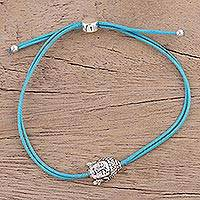 Sterling silver pendant bracelet, 'Buddha Companion in Sky Blue' - Sterling Silver Buddha Bracelet in Sky Blue from India