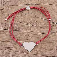 Sterling silver pendant bracelet, 'Heartfelt Shimmer in Red' - Sterling Silver Heart Pendant Bracelet in Red from India