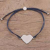 Sterling silver pendant bracelet, 'Heartfelt Shimmer in Navy' - Sterling Silver Heart Pendant Bracelet in Navy from India
