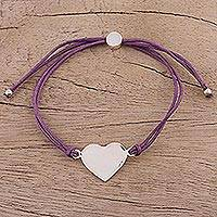 Sterling silver pendant bracelet, 'Heartfelt Shimmer in Purple' - Sterling Silver Heart Pendant Bracelet in Purple from India