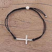 Sterling silver pendant bracelet, 'Heavenly Connection in Black' - Sterling Silver Cross Pendant Bracelet in Black from India