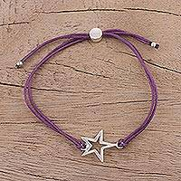 Sterling silver pendant bracelet, 'Starry Shine in Purple' - Sterling Silver Star Pendant Bracelet in Purple from India