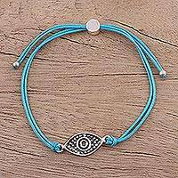 Sterling silver pendant bracelet, 'Alluring Eye in Sky Blue' - Sterling Silver Eye Pendant Bracelet in Sky Blue from India