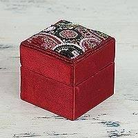 Beaded jewelry box, 'Crimson Saga' - Square Beaded Jewelry Box in Crimson from India