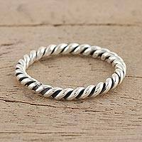 Sterling silver band ring, 'Beautiful Rope' - Sterling Silver Rope Motif Band Ring from India