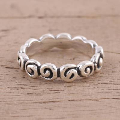 Sterling Silver Spiral Motif Band Ring from India