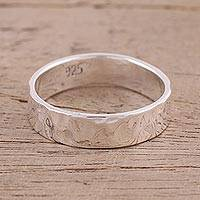 Sterling silver band ring, 'Simple Song' - Simple Sterling Silver High-Polish Band Ring from India