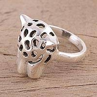 Sterling silver cocktail ring, 'Wild Jaguar' - Sterling Silver Jaguar Cocktail Ring from India