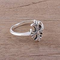 Sterling silver cocktail ring, 'Indian Cross' - Handcrafted Sterling Silver Cross Cocktail Ring from India