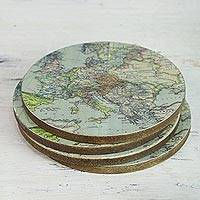 Wood coasters, '17th Century Europe' (set of 4) - Handcrafted Set of 4 Indian Wood Coasters with Map of Europe