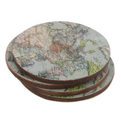 Handcrafted Set of 4 Indian Wood Coasters with Map of Europe