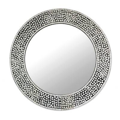 Circular Shimmering Mosaic Wall Mirror from India