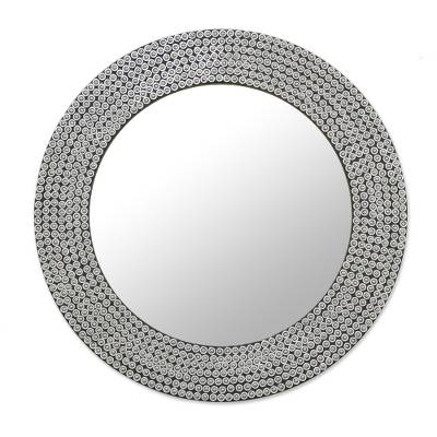 Circular Shimmering Metal Wall Mirror from India