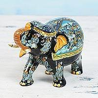 Wood sculpture, 'Elephant Tradition' - Handcrafted Lacquered Kadam Wood Elephant Sculpture