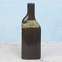 Ceramic vase, 'Brown Bottle' - Ceramic Bottle-Shaped Vase in Brown and Beige from India