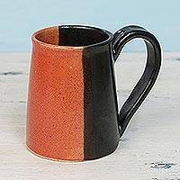 Ceramic mug, 'Bright Morning' - Handcrafted Ceramic Mug in Orange and Black from India