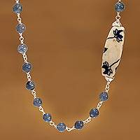 Agate beaded necklace, 'Tranquil Harmony' - Handmade Blue Agate and Ceramic Beaded Necklace from India