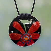 Ceramic pendant necklace, 'Floral Simplicity' - Hand Painted Ceramic Floral Pendant Necklace from India