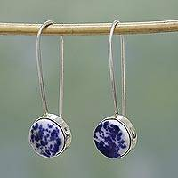 Ceramic drop earrings, 'Morning Elegance' - Handcrafted Ceramic and Sterling Silver Drop Earrings