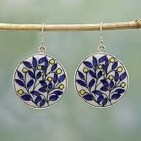 Ceramic dangle earrings, 'Blooming Beauty' - Hand Painted Ceramic Dangle Earrings from India