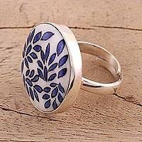 Ceramic cocktail ring, 'Leafy Allure' - Hand Painted Ceramic and Sterling Silver Cocktail Ring