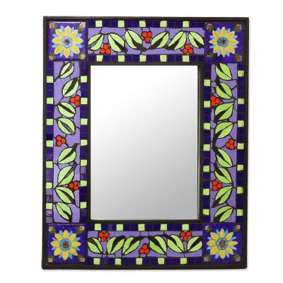 Ceramic Wall Mirror with Sun and Leaf Mosaic from India