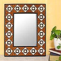 Ceramic mosaic wall mirror, 'Geometry Mosaic' - Handcrafted Ceramic Mosaic Wall Mirror from India