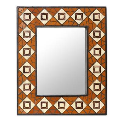 Handcrafted Ceramic Mosaic Wall Mirror from India