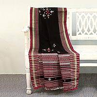 Throw blanket, 'Roses by Moonlight' - Handwoven Gujrati Mirrorwork Throw in Black and Cherry Red