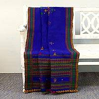 Handwoven throw, 'Sapphire Mirror' - Handwoven Throw Blanket in Sapphire with Mirrors from India