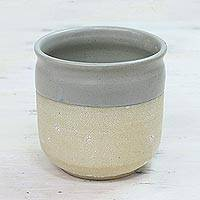 Ceramic planter, 'Natural Home' - Handcrafted Ceramic Crackled Planter from India