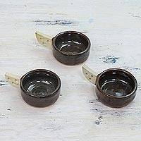 Ceramic tealight holders, 'Winged Flames' (set of 3) - Three Handcrafted Ceramic Tealight Holders from India
