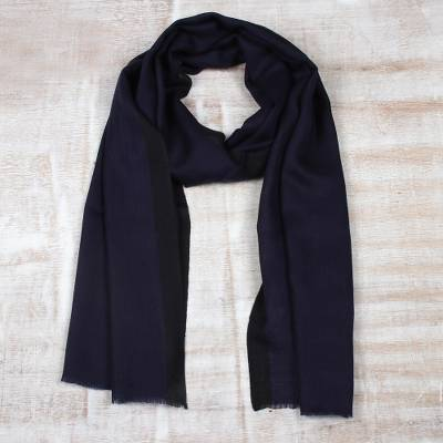 Wool and silk blend scarf, 'Classic Midnight' - Wool Blend Woven Scarf in Midnight from India