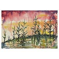 'Dream' - Signed Impressionist Painting of a Pond from India