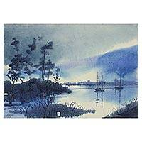 'Misty Morning' - Signed Impressionist Painting of Fishing Boats from India