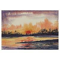 'Evening at Mahananda River' - Signed Impressionist Painting of a River from India