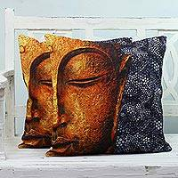 Cotton cushion covers, 'Buddha's Presence' (pair) - Two Buddha-Themed Cotton Cushion Covers from India