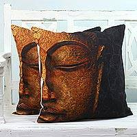 Cotton cushion covers, 'Buddha's Grace' (pair) - Two Cotton Cushion Covers with Buddha from India