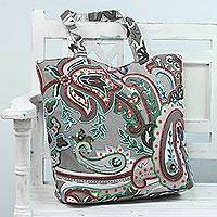Cotton tote bag, 'Paisley Winter' (India)