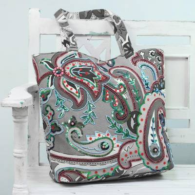 Cotton tote bag, 'Paisley Winter' - Grey Floral and Paisley Embellished Cotton Tote Bag