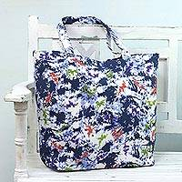 Cotton tote bag, 'Speckled Beauty' - Printed Cotton Speckled Tote Handbag from India
