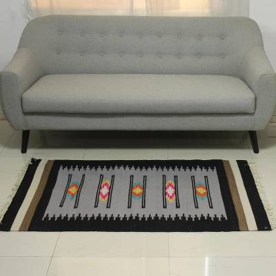 Wool area rug, 'Graceful Venture' (3x5) - Hand Woven Wool Rectangular Area Rug from India (3x5)